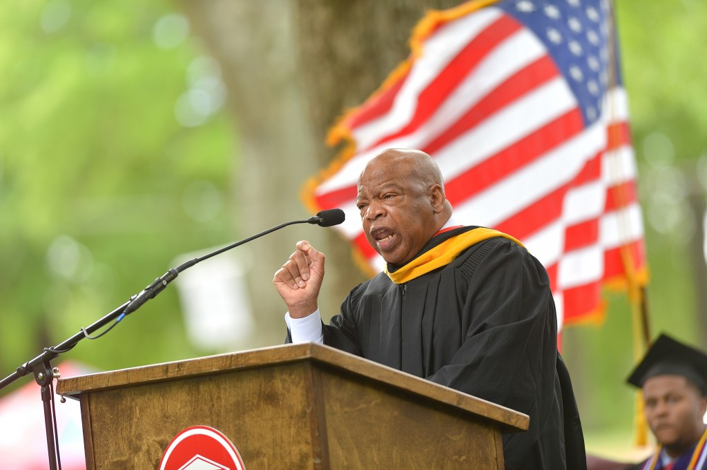 Famed civil rights leader U.S. Rep. John Lewis (D-Ga.) urged 2014 graduates of the University of Mississippi School of Law to use their law degrees to make a difference in the world.